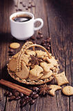Small decorative cookies and coffee Royalty Free Stock Image
