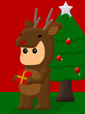 Small deer with Christmas gifts Royalty Free Stock Images