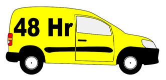 Small Delivery Van With 48 hr Text. A small delivery van with text 48hr isolated on a white background Royalty Free Stock Photo