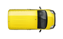 Small delivery yellow van - top view Stock Image