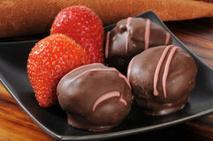 Mini strawberry cream puffs Royalty Free Stock Photo