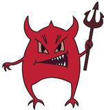 Small devil. Small red devil with a trident in hands Royalty Free Stock Photos