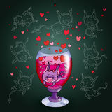 devil  in a glass of wine Stock Photography
