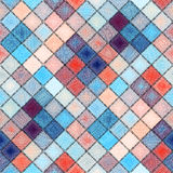 Small diagonal squares in patchwork stylle with paisley ornament. Royalty Free Stock Photos