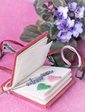 Small diary with lavender and hearts Royalty Free Stock Photography