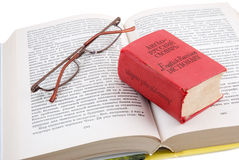 Small dictionary. The small red dictionary lays on the opened book Stock Photography