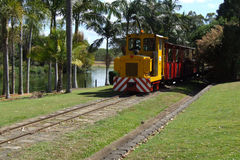 Small diesel engine and train. Small yellow narrow gauge diesel train operating tourist services Royalty Free Stock Image
