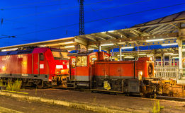 Small diesel shunter at Offenburg railway station Stock Photography