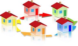 Small different houses round arrow Royalty Free Stock Photos