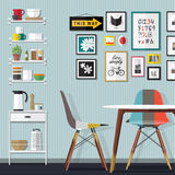 Small Dinner Room. Kitchen with furniture set. Cozy room interior with table, stove, cupboard and dishes. Flat style vector illustration Royalty Free Stock Image