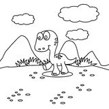 Small dinosaur coloring page Royalty Free Stock Photography