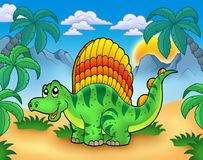 Small dinosaur in landscape Stock Photo