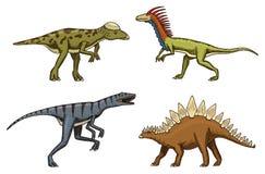 Small dinosaurs, deinonychus, stegosaurus, velociraptor, pachycephalosaurus, skeletons, fossils. Prehistoric reptiles. Small dinosaurs, deinonychus, stegosaurus Stock Images