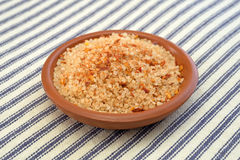 Small dish filled with salt, red chili pepper and paprika Stock Images