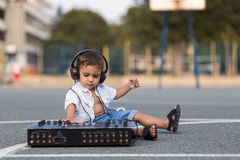 Small dj in the schoolyard Stock Image
