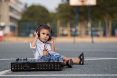 Small dj in the schoolyard Royalty Free Stock Photography