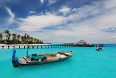 Small dock. A small dock with boats. Maldives island Stock Photography