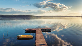 Small Dock and Boat at the lake. Aerial view Stock Image