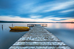 Small Dock and Boat at the lake Stock Photos