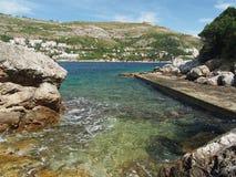 Small dock in Lokrum island, Croatia Royalty Free Stock Photos