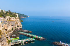 Small dock in Sorrento. View of dock on the morning in sunshine, Sorrento, Italy royalty free stock photos
