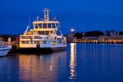 Small docked tourist ship Royalty Free Stock Images