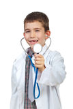 Small doctor boy with stehoscope Royalty Free Stock Photography