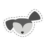 Small dog face gray pet line dotted Royalty Free Stock Photo