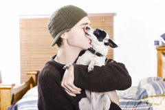 Small dog kissing his male owner. Pet love. At home portrait of a small dog kissing his male owner. Pet love Stock Image