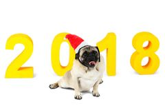 A small dog in a santa hat sits on the background of the New Year`s inscription 2018. Isolated on white background. A small dog in a santa hat sits on the Stock Image