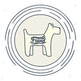 Small dog sign. Stylized vector line-art symbol of a friendly small dog Stock Photo