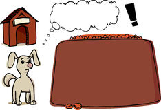 Small Dog Woes. Illustration of a small dog with thought bubble, his kennel and a very large bowl of dog food Royalty Free Stock Photo