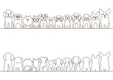 Small dogs border set. Front view and rear view, line art Royalty Free Stock Photo