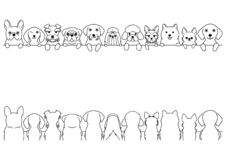 Small dogs line art border set. Cute dogs border set, small dogs, front side and back side royalty free illustration