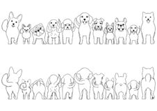 Small Dogs line art border set. From front view and rear view royalty free illustration