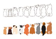 Small Dogs looking up sideways in a row. Brown line arts and with colors vector illustration