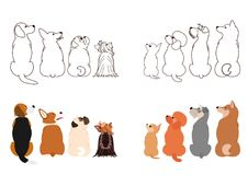 Small Dogs looking up sideways in two rows. Brown line arts and with colors stock illustration