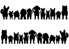 Small Dogs silhouette border set. From front view and rear view vector illustration