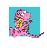 The small dragon with doll colored illustration humorist button or icon for website Stock Image
