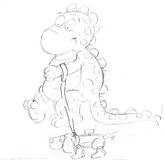 The small dragon with his wooden dog ,sketches and pencil sketches and doodles Stock Photo
