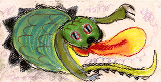 Small dragon. Vomiting a flame Royalty Free Stock Image