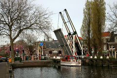 Small drawbridge in Dutch town, Netherlands. Stock Image