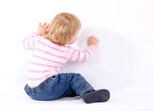 Small drawing on wall young girl Stock Image