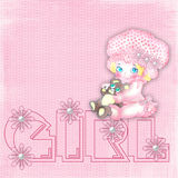The small drawn baby-girl. On a pink background in peas with an inscription Royalty Free Stock Images
