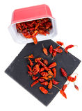 Small dried chili peppers Stock Images