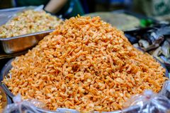 Dried shrimps is made from small shrimps. Bring the sun to dry. Small dried shrimp can be cooked in various dishes Royalty Free Stock Photo