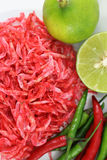 Small dried shrimp with lime and chili Royalty Free Stock Image