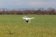 Small drone above the field. Small drone is flying above the large green field stock image