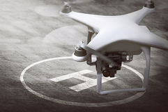 Small drone ready for landing Royalty Free Stock Photos