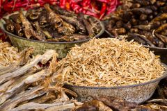 Small dry fish. Used in Asian cuisine royalty free stock photography